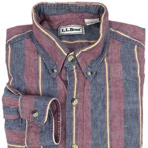 L. L. Bean Striped Oxford Button Down Shirt Size M